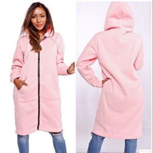 Jackets & Blazers - Pink Long Length Hoodie Jacket